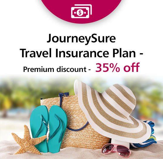 JourneySure Travel Insurance - Premium discount - 35% off