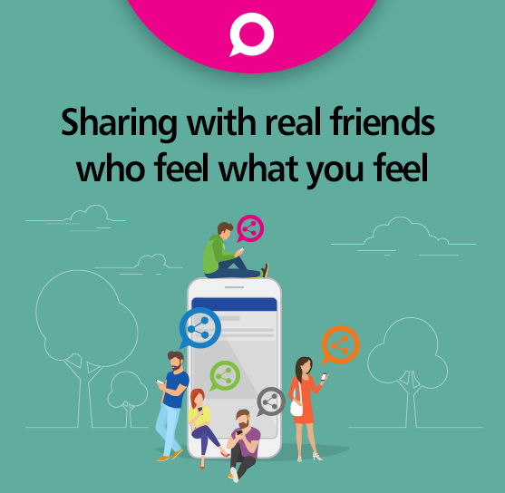 Sharing with real friends who feel what you feel