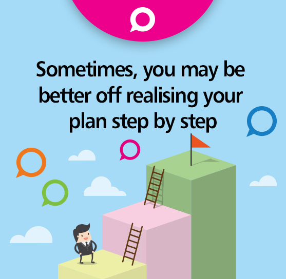 Sometimes, you may be better off realising your plan step by step